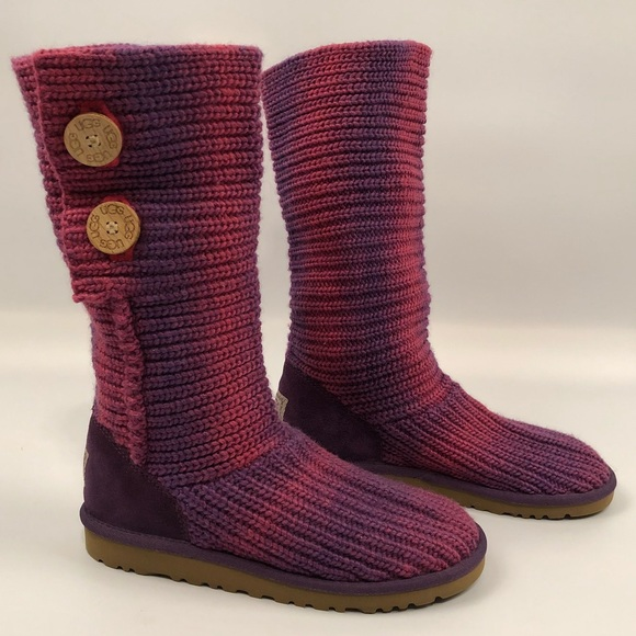 b989807a399 Ugg Purple and Pink Cardy Classic Knit Boots